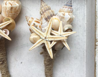 starfish and Shell boutonniere buttonhole