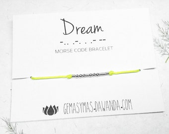 Morse Code friendship DREAM 925 Sterling Silver bracelet