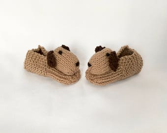 Dog Slippers Puppy Slippers Animal Slippers - Children's Knitted Slippers Made to Order