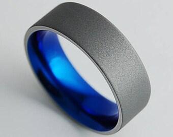 Titanium Ring , Wedding Band , Mens Titanium Wedding Ring , Mens Titanium Wedding Band , Apollo Band in Nightfall Blue with Comfort Fit