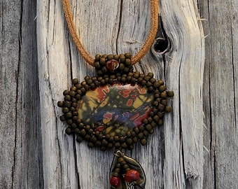 Beaded Cabochon Beaded Bale Necklace  - Bead Weaving - Statement Necklace - Red Creek Jasper Pendant -Suede Cord - BOHO