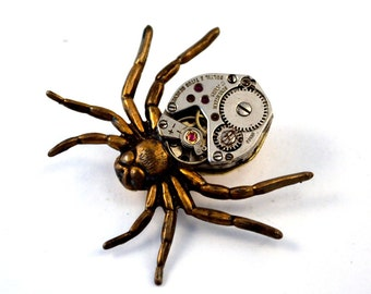 Steampunk Spider Brooch Pin