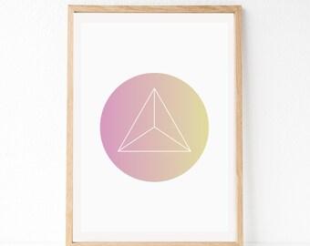 Triangle Art Print, Geo Wall Art, Geometric Art Print, Modern Wall Art, Triangle Art, Minimalist Print, Bedroom Wall Art, Pink Circle Art