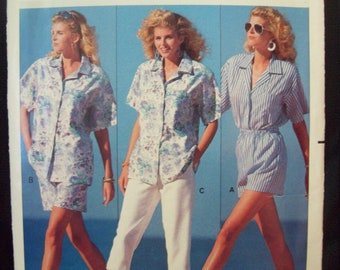 Fast & Easy Shirt, Shorts and Pants Butterick Pattern 6453 1980s Family Circle Collection Sizes XS-M (6-14) Uncut Factory Fold