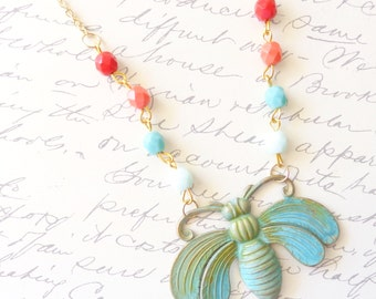 Grünspan Perlen Moth Halskette - grüne Patina - Schmetterling - Zirkonia Perlen Halskette