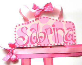 Bow Holder - Plaque Hair Bow Holder-Personalized Bow Holder-Barrette holder