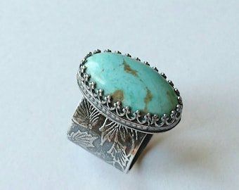 Sterling silver handmade natural Arizona turquoise ring. Hallmarked in Edinburgh