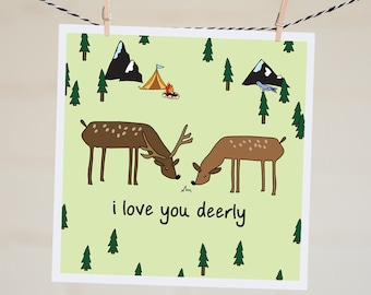 I Love You Deerly Card | Funny Valentine's Day Card For Husband | Funny I Love You Card For Boyfriend | Anniversary Card For Wife | Pun Card