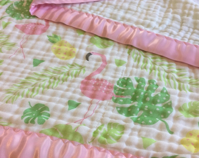 Flamingo Muslin swaddle baby blanket, triple layer double gauze trimmed with light pink silky. Cotton baby blanket