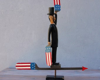 Abraham Lincoln Weather Vane Wooden Authentic Models Americana Decoration Wood Wind vane 1970's