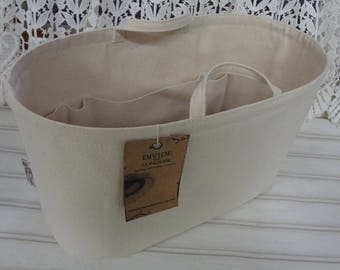 "13"" x 6"" x 8""H / Wide-Oval / Ready to Ship / Purse ORGANIZER insert Shaper / NATURAL color / Sturdy / with handles & stiff wipe-clean bottom"