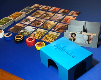 Splendor game organizer for sleeved cards and noble promo tiles