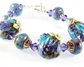 Lavender and Blue Lampwork Bracelet, Sterling Silver, Tulips and Hyacinths, Spring Flowers, Floral Bracelet, Spring Bracelet