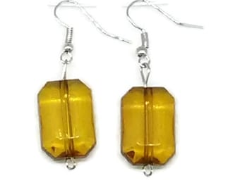 Gold Faceted Octagon Beaded Earrings