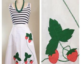 80s Strawberry Applique White A-line Wrap Skirt, Size Medium