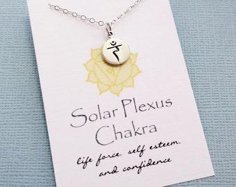 Yoga Gifts | Sanskrit Solar Plexus Chakra Necklace, Yoga Jewelry, Meditation Inspirational Chakra Jewelry, Spiritual Om Boho Jewelry