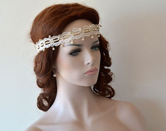 Wedding Lace Headband, Bridal Headpiece, İvory Lace Hair Piece, Wedding Hair  accessory, Pearl Hair Vine, headband for Bride, Bridal Hair