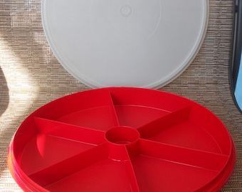 Vintage TUPPERWARE Red Divided Relish Tray and Lid (NO HANDLE)
