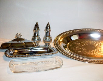 Silver Serving Set With Covered Butter Salt and Pepper and Tray  bIND   198664708