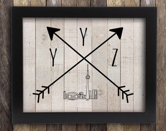Toronto Skyline Art YYZ Tribal Print - CN Tower Blue Jays - Ontario Province Poster - the 6ix Ryerson U of T Home Decor - Arrows Rustic Map