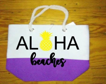 Personalized beach bags - beach totes - monogrammed - beach quotes