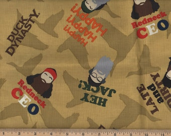Duck Dynasty Faces Sayings Late & Dirty, Hey Jack, Redneck CEO Fat Quarter #225