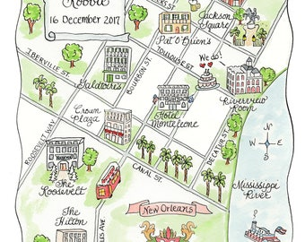 Custom Wedding Map - New Orleans - Hand Drawn Wedding Map-Watercolor Map