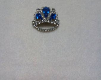 """Vintage Crown Pin with Rhinestones and """"Sapphires"""""""