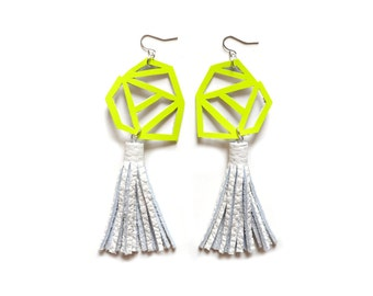 Neon Geometric Earrings, Yellow Earrings, Neon Dangle Earrings, White Leather Tassel Earrings, Triangle Chevron Earrings, Geometric Jewelry