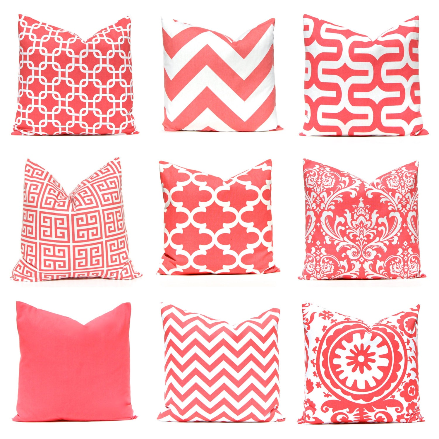 Coral Pillow Covers 17 x 17 Pillow Covers Decorative Throw