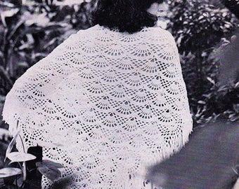 Shawl, Fan Lace Pattern, Crochet Pattern. PDF Instant Download.
