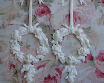 New! Shabby & Chic Bow Rose Wreath Drop/Center 2 Pcs. Furniture Applique Architectural Onlay Embellishment