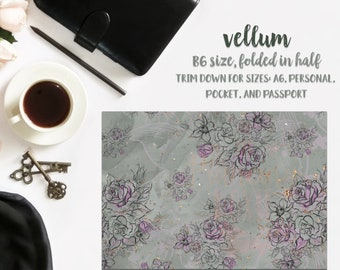 Gray Floral; Vellum }} decor . Planner TN . ECLP . Vertical Erin Condren LifePlanner™ . Ephemera . Scrapbook . DV017
