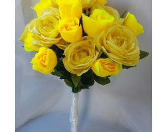 Yellow Bouquets Yellow Bridal Bouquet Yellow Bridesmaid Bouquet Yellow Wedding Bouquet Yellow Silk Rose Bouquet Yellow Bouquet Yellow Roses