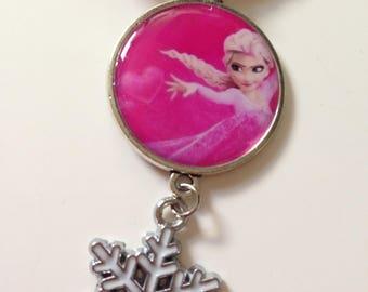 Necklace little girl, Queen of snow, Elsa, fuchsia cord