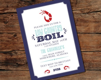 PRINTABLE Low Country Boil Invitation - Crawfish Boil - Couples Shower - Baby Shower - Digital File - Print-at-Home