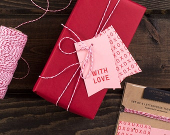 With Love Gift Tags : Set of 6 Letterpress Gift Tags