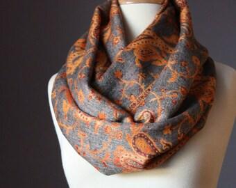 Infinity scarf, orange scarf, grey scarf, pashmina scarf, chunky scarf