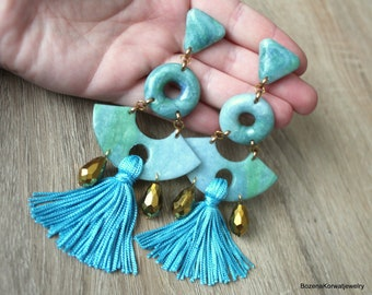 Long earrings with tassel, polymer clay