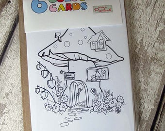 pack of 6 assorted pixieland colouring cards
