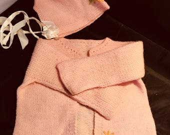 Baby Hand Knitted Pink Sweater with Matching Hat