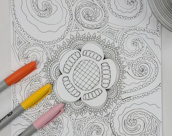 Floral Swirls Coloring Page Digital Download Zentangle ZIA