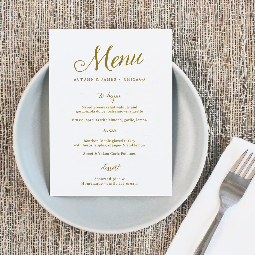 printable wedding menu wedding menu template romantic script mac or pc 100 editable cheap wedding menu instant download