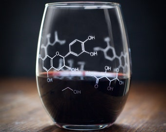 Chemistry of Wine Molecules Stemless Glass | Girlfriend Gift, Gifts for Men, Chemistry Gift, Science Nerd Gift, Gifts for her, Smart Gift
