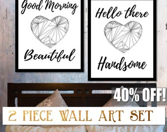 Good Morning Beautiful,  Hello there Handsome, Couples Art, Couples Gift, Matching Couples Art,Matching Prints,Couples Prints,Bedroom Prints