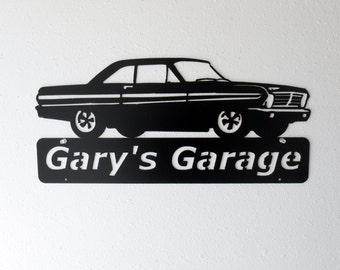 1965 Ford Falcon Personalized Man Cave Classic Garage Sign Satin Black