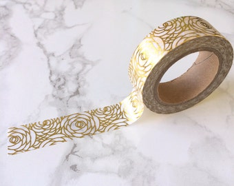 White & Gold Foil Roses Washi Tape // Decorative Paper Masking Drafter Planner Scrapbooking Tape