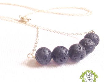 Lava stone diffuser necklace - Black lava rock necklace - Essential oil jewelry - Aromatherapy necklace - Bar necklace - Gift for her