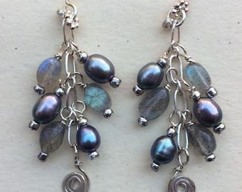 Labradorite and Gray Pearl Dangle Earrings
