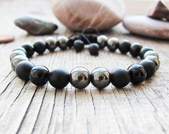 Hematite bracelet mens Bead bracelet Men bracelet Hematite bead bracelet Hematite macrame bracelet Matte Onyx hematite jewelry Protection